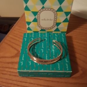 Rose gold open bar cuff bracelet